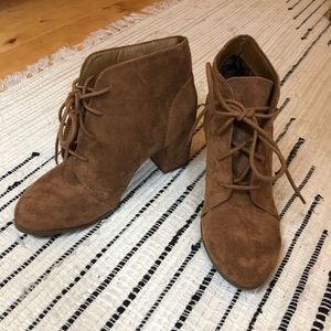 Brown Suede Tie Booties *only worn once